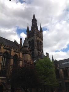 The University of Glasgow's main tower, which overlooks Kelvingrove park.    the famous physicist William Thompson (also known as Lord Kelvin), had his lab near the tower.