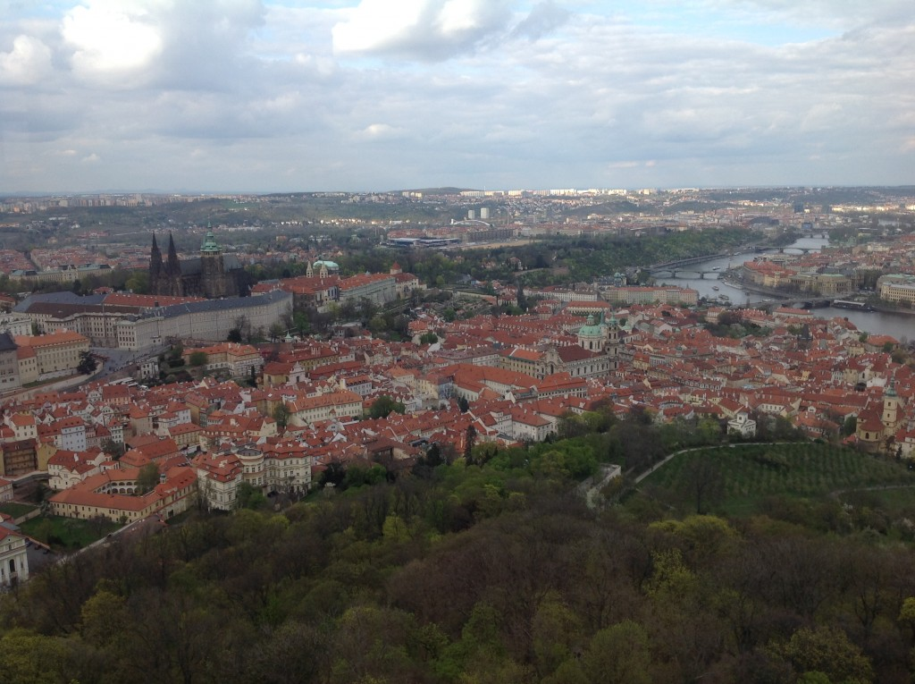 View of Prague Castle and Charles Bridge crossing the Vltava River.  I took this picture from the top of the Petrin tower.