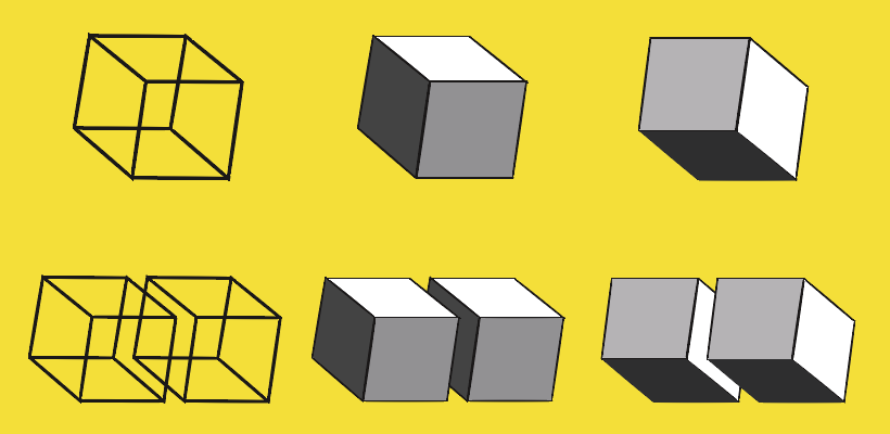 Single ambiguous Necker cube is a metaphor for quantum superposition, while a pair of ambiguous Necker cubes is a metaphor for quantum entanglement