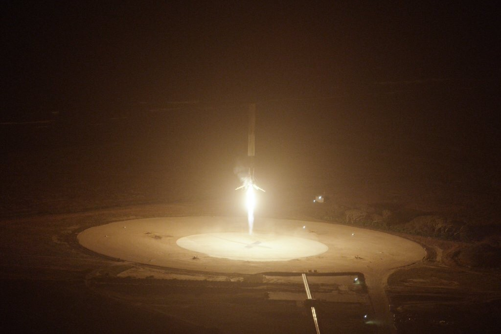 The 48-m Falcon 9 first stage lands back at Cape Canaveral after launching the second stage and 11 satellites into Earth orbit, 2015 December 21