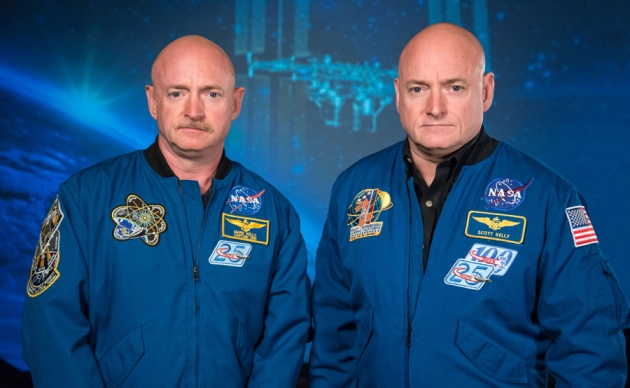 As predicted by the theory of relativity, identical twins Mark and Scott Kelly aged differently during Scott's year in space. Photo credit: Robert Markowitz / NASA.
