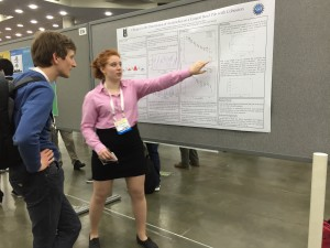 Justine in action at her poster