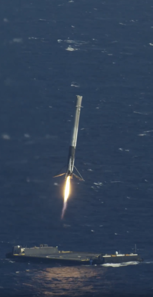 Space X's Falcon 9 first stage successfully land on the droneship Of Course I still Love you after boosting a Dragon capsule to the International Space Station, 2016 April 18