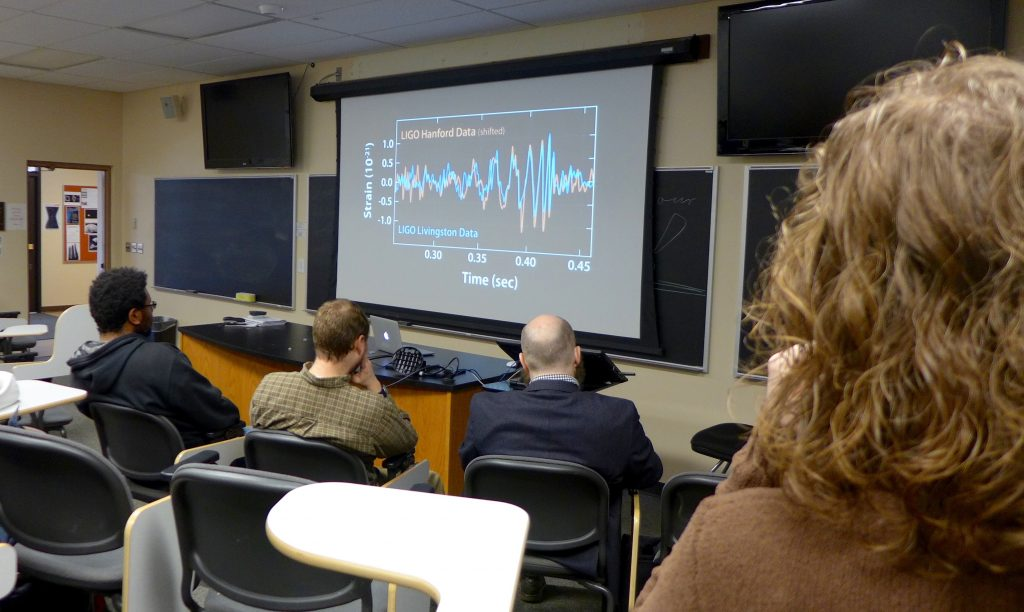The moment we first saw the now-famous plots of the gravitational wave signals.