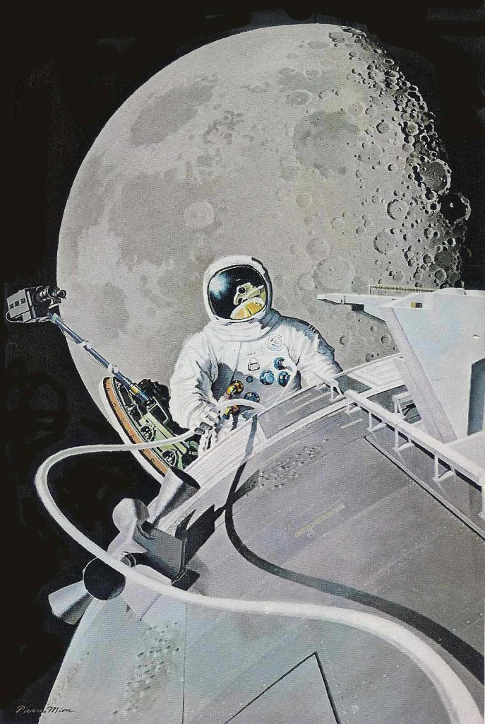 The first deep space walk, by Al Worden reflected in Jim Irwin's visor, during Apollo 15 in 1971, as painted by Pierre Mion