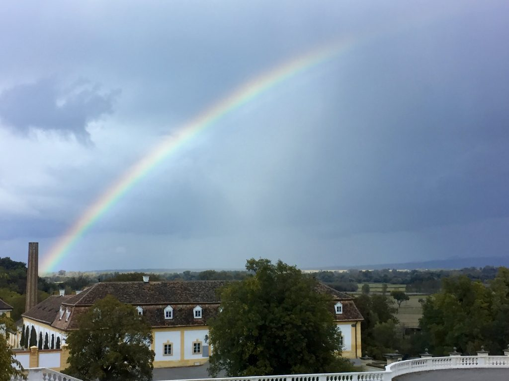 Supernumerary rainbow over Schloss Hof, Austria, 9 October 2016