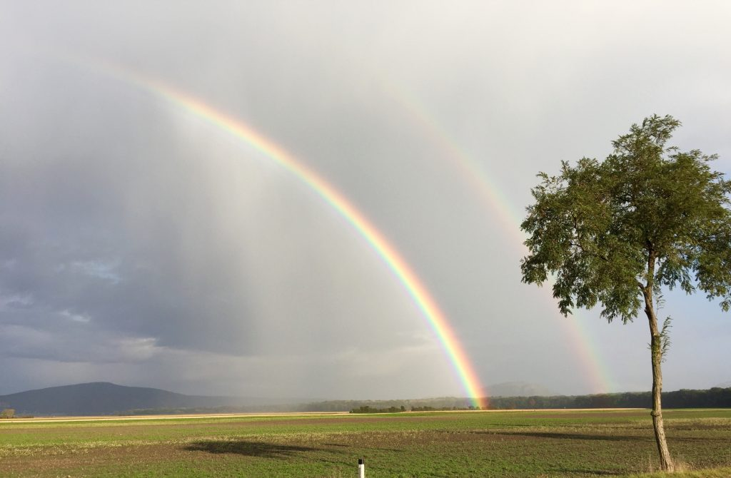 Supernumerary rainbow and double rainbow outside Engelhartstetten, Austria, 9 October 2016