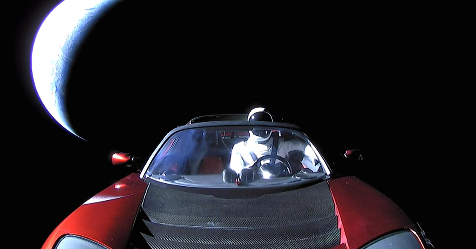 Tesla Roadster leaving Earth