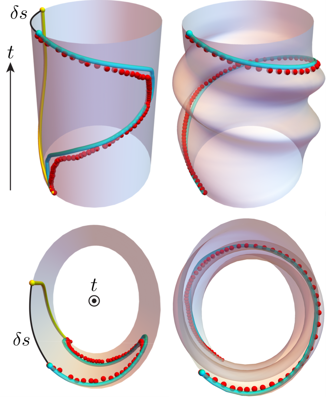 Spacetime diagrams of a bead sliding on spinning hoop in the hoop (left) and lab (right) frames. Red spheres are experiment, cyan tubes are simulation, yellow tubes numerically extrapolates bead sliding in the absence of hoop spinning, and black arcs are the generalized Hannay's shift.