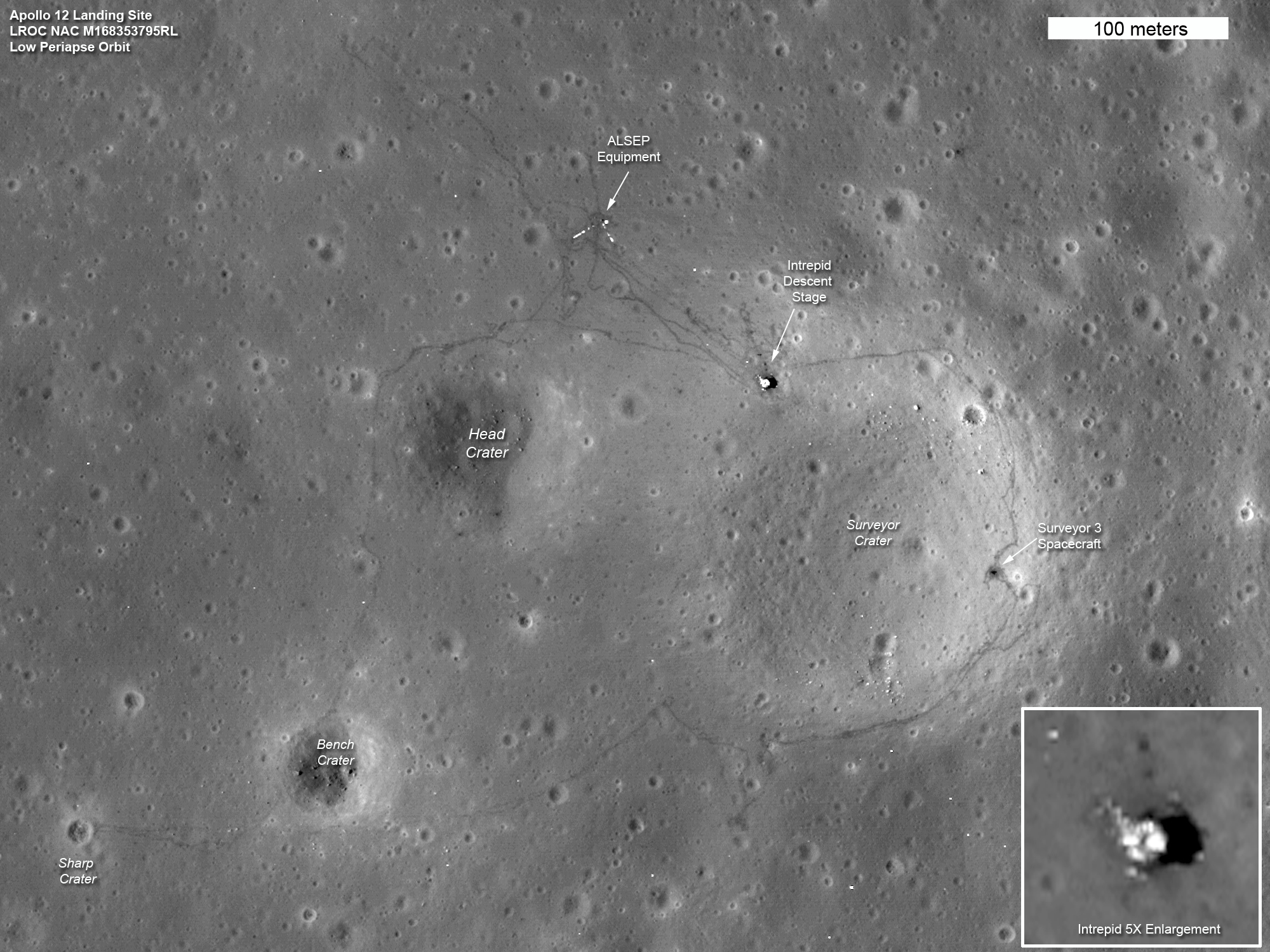 2011 Lunar Reconnaissance Orbiter photograph of the Apollo 12 landing site including the astronauts' tracks from two moonwalks