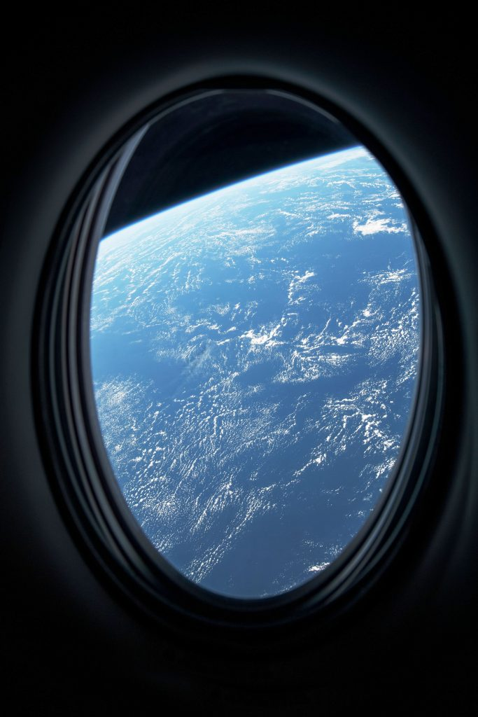 "Window view from the SpaceX Dragon ""Resilience"" during the first-ever FAA certified crewed spaceflight"